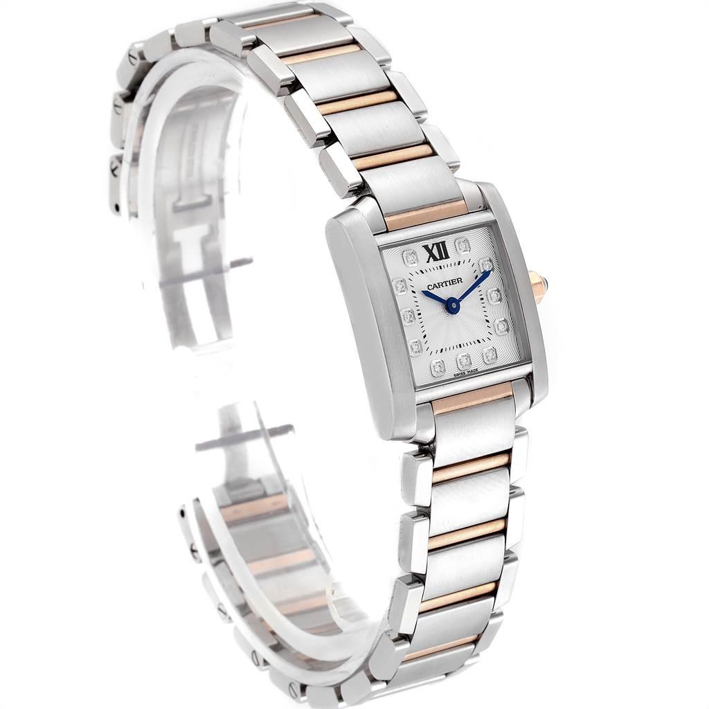 Cartier Tank Francaise Steel Rose Gold Diamond Ladies Watch WE110004 SwissWatchExpo
