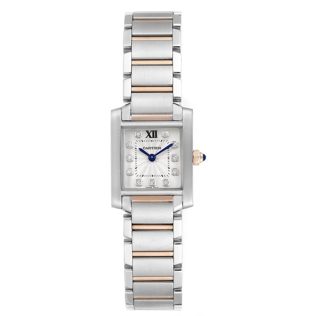 23836 Cartier Tank Francaise Steel Rose Gold Diamond Ladies Watch WE110004 SwissWatchExpo