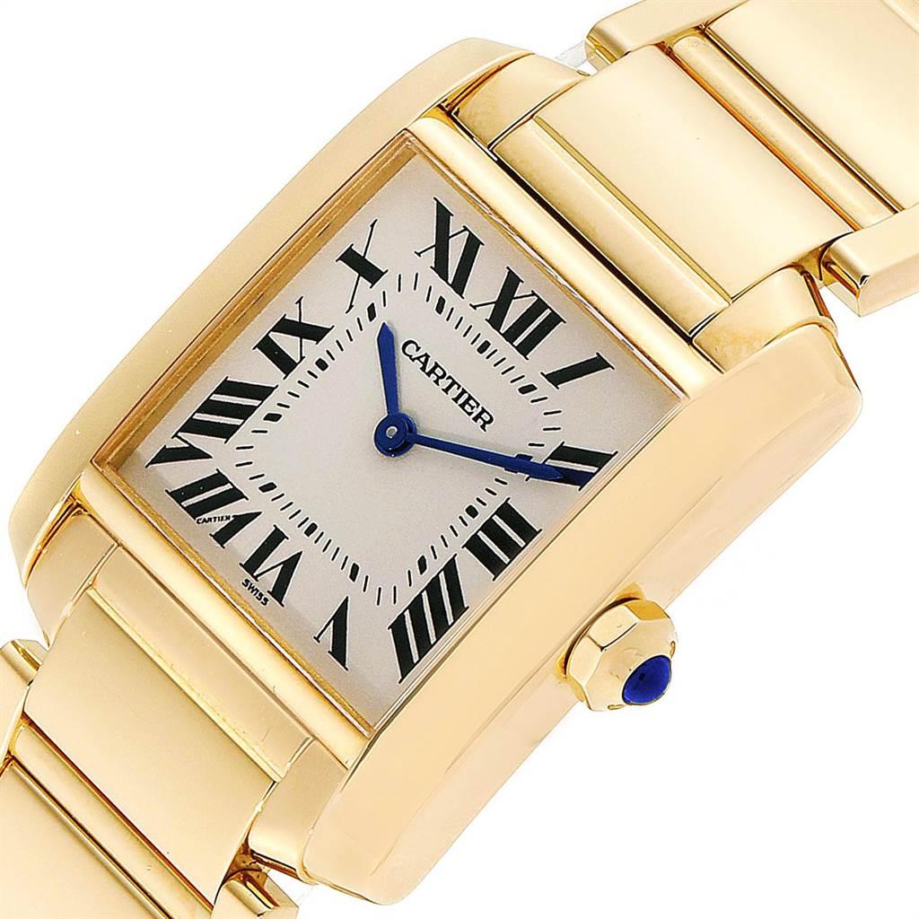 23872 Cartier Tank Francaise Midsize 18K Yellow Gold Ladies Watch W50003N2 SwissWatchExpo