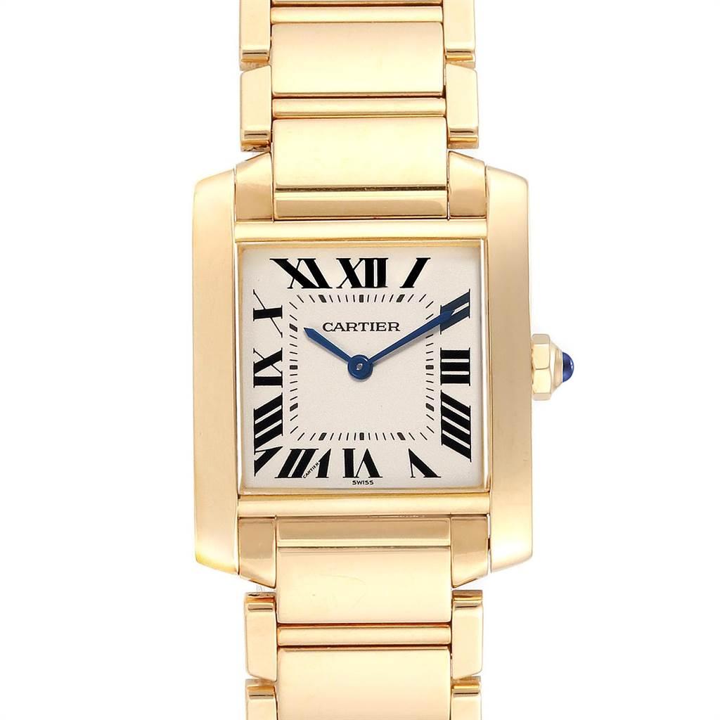 23871 Cartier Tank Francaise Midsize Yellow Gold Ladies Quartz Watch W50003N2 SwissWatchExpo