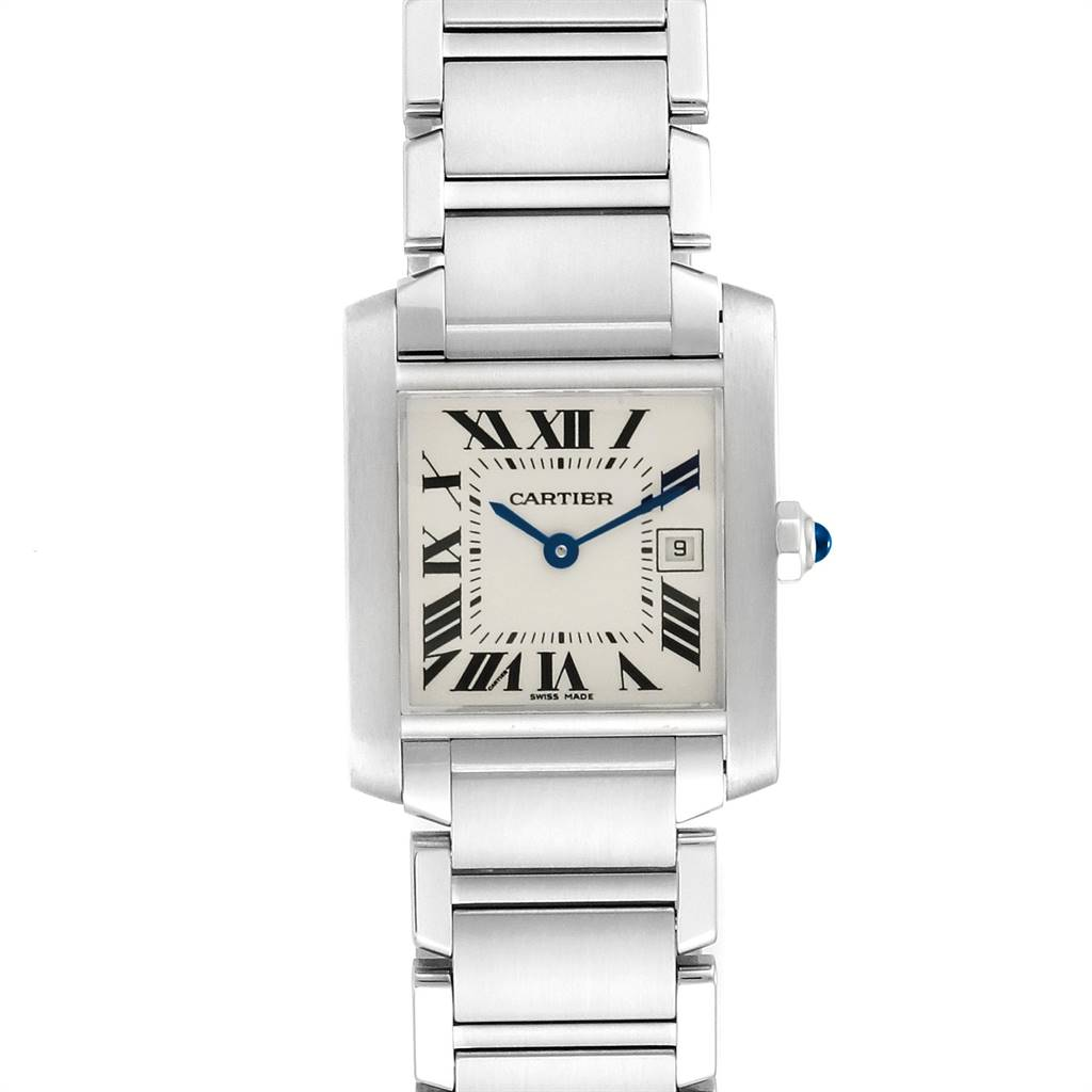 22891 Cartier Tank Francaise Midsize Blue Hands Ladies Watch W51011Q3 SwissWatchExpo