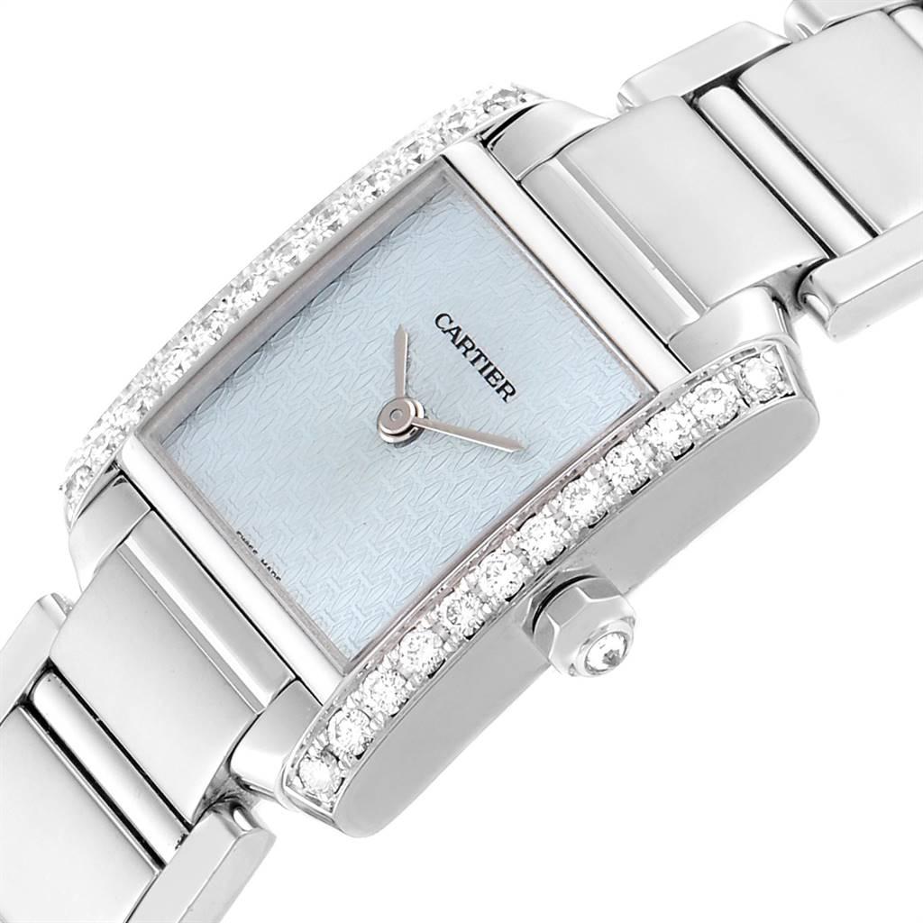 Cartier Tank Francaise White Gold Blue Dial Diamond Ladies Watch 2403 SwissWatchExpo