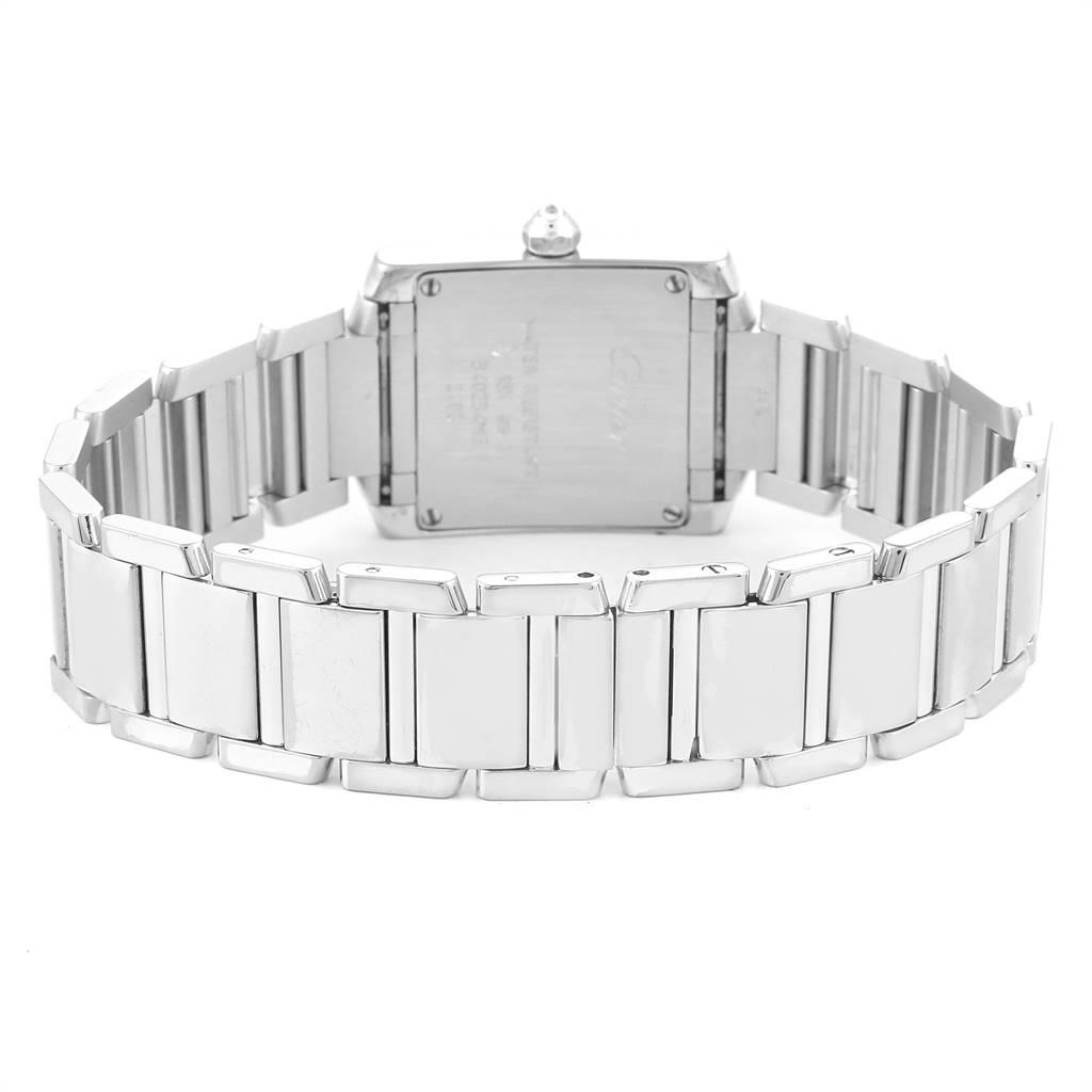 24795 Cartier Tank Francaise White Gold Blue Dial Diamond Ladies Watch 2403 SwissWatchExpo