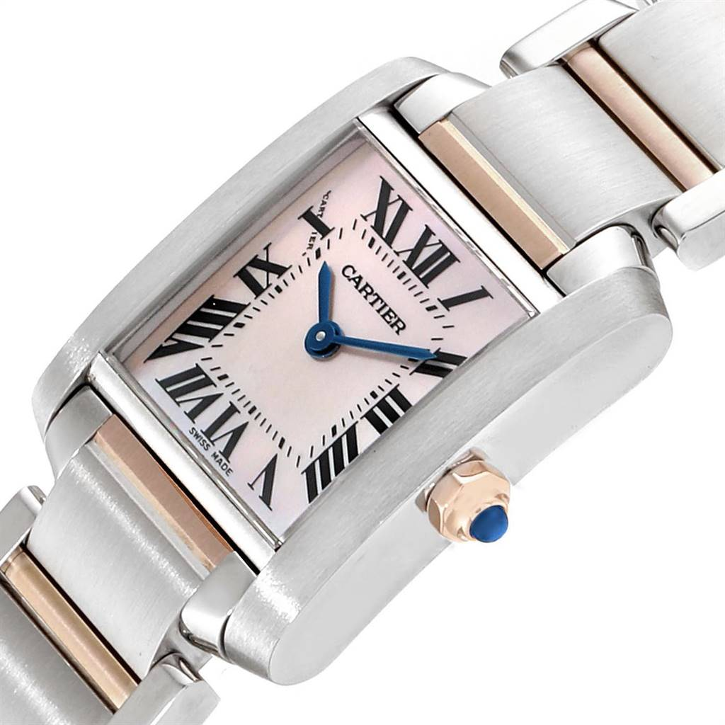 23609 Cartier Tank Francaise Steel Rose Gold Mother of Pearl Watch W51027Q4 SwissWatchExpo