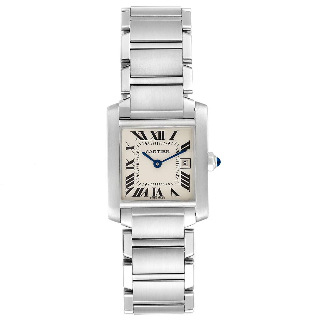 24570 Cartier Tank Francaise Midsize Blue Hands Ladies Watch W51011Q3 Papers SwissWatchExpo