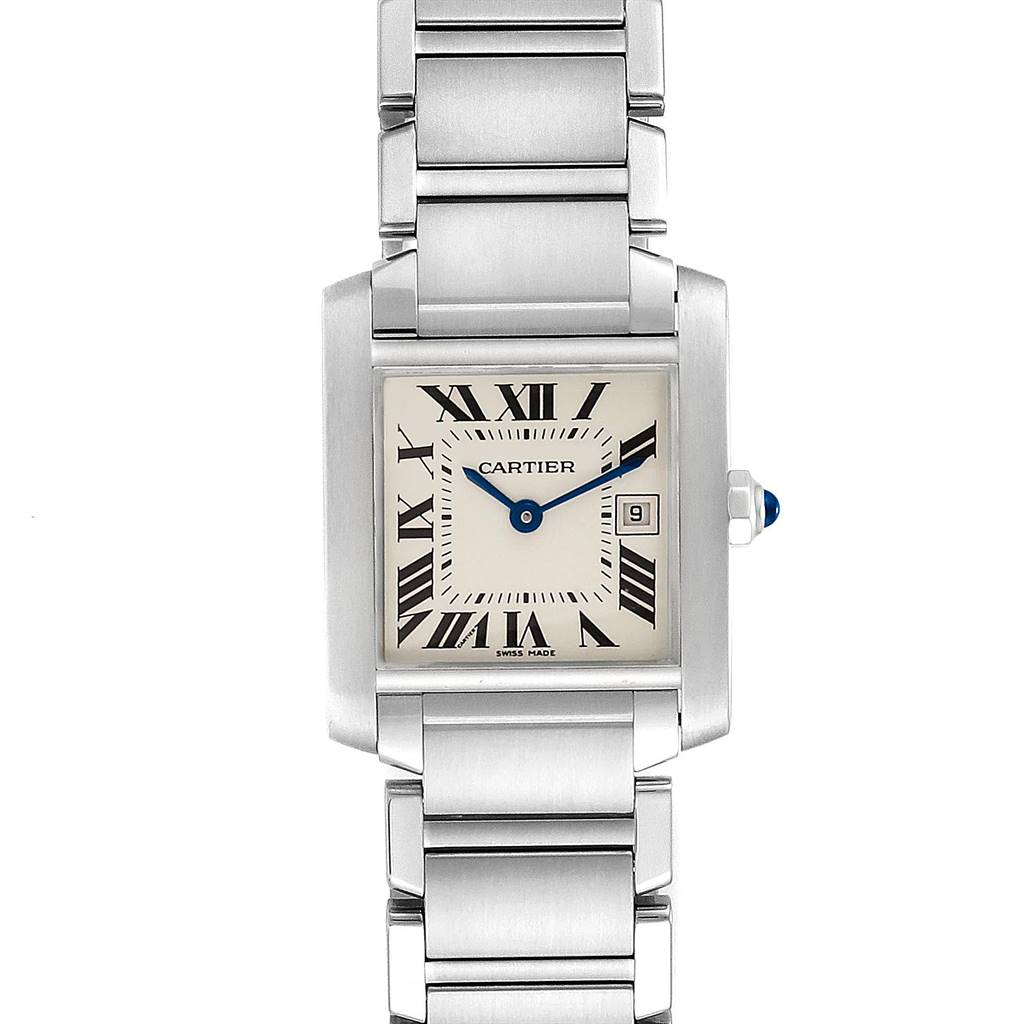 Cartier Tank Francaise Midsize Blue Hands Ladies Watch W51011Q3 Papers SwissWatchExpo
