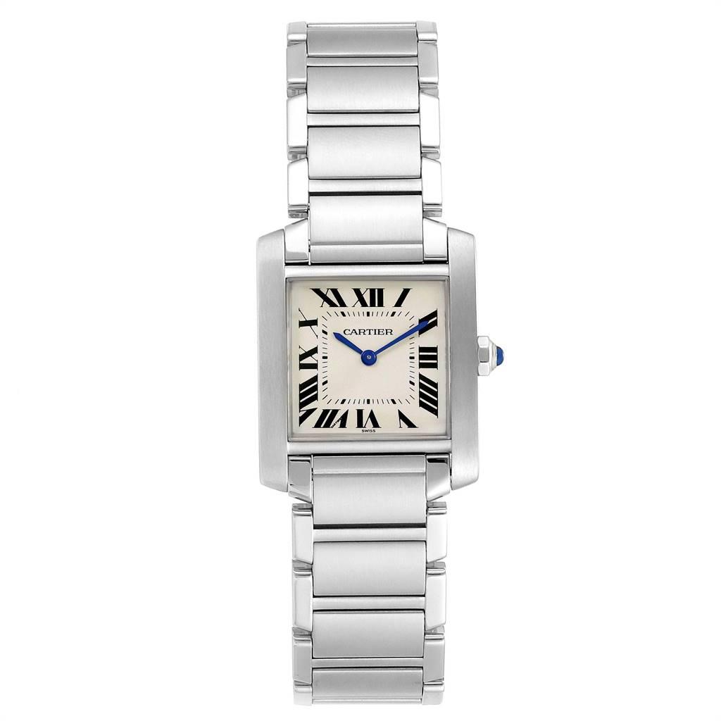 24464 Cartier Tank Francaise Midsize Silver Dial Steel Ladies Watch WSTA0005 SwissWatchExpo