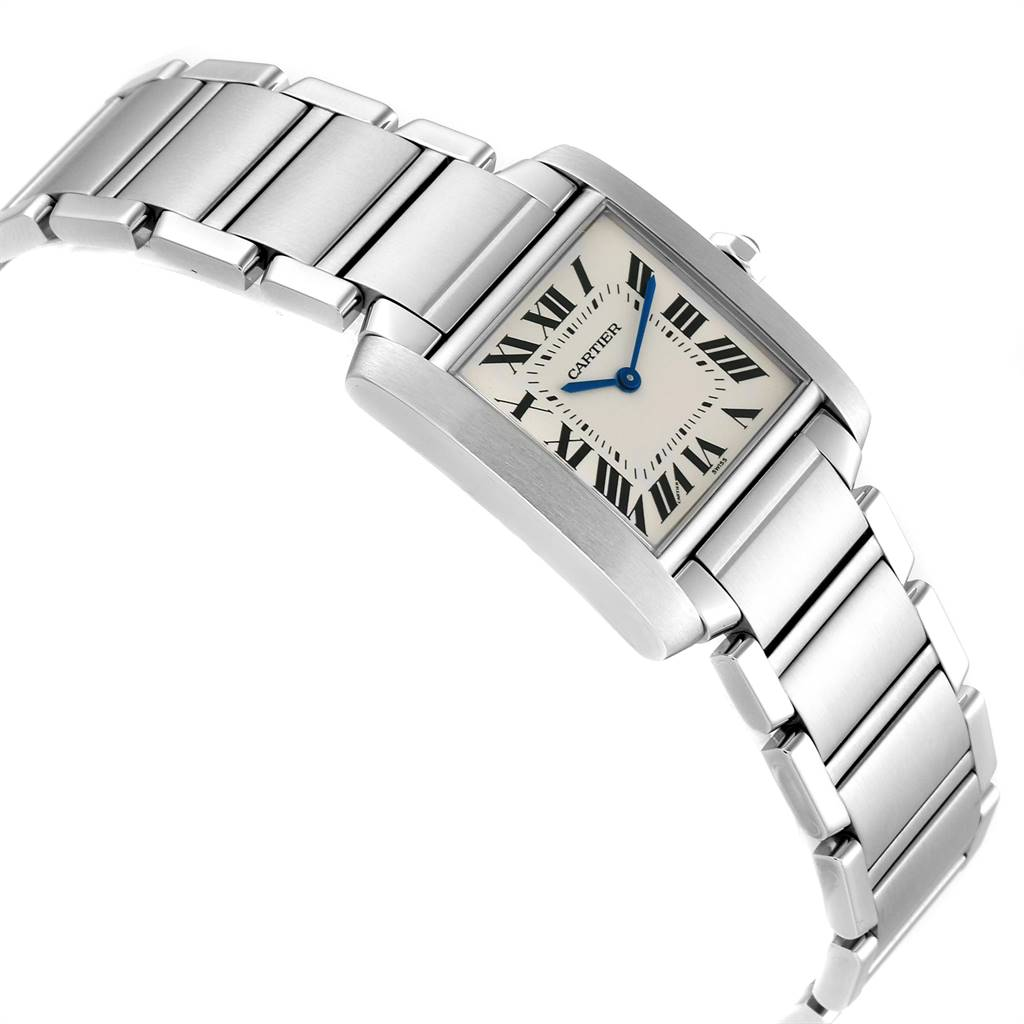Cartier Tank Francaise Midsize Silver Dial Steel Ladies Watch WSTA0005 SwissWatchExpo
