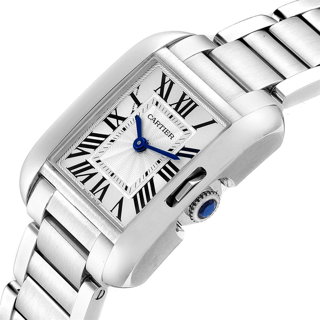 24915 Cartier Tank Anglaise Small Silver Dial Steel Ladies Watch W5310022 SwissWatchExpo