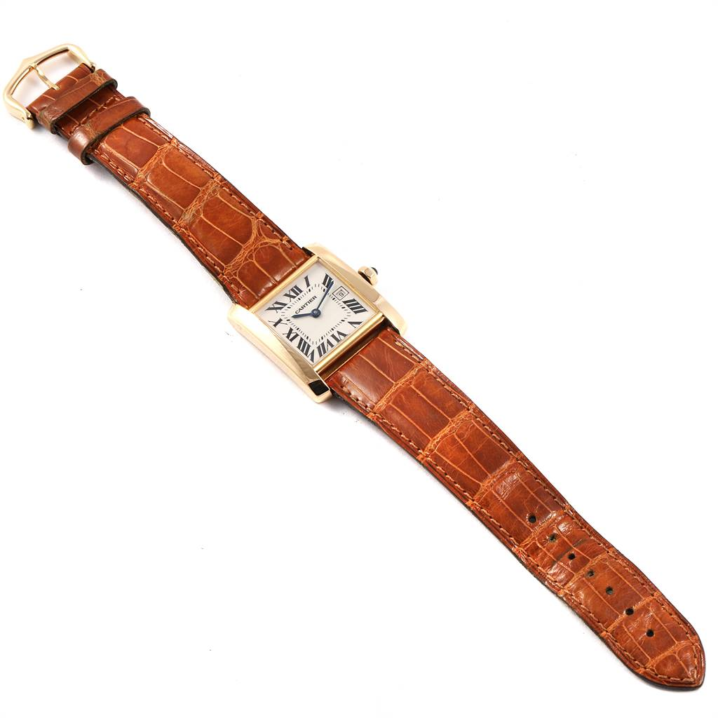 25076 Cartier Tank Francaise Midsize Yellow Gold Brown Strap Watch W50014N2 SwissWatchExpo