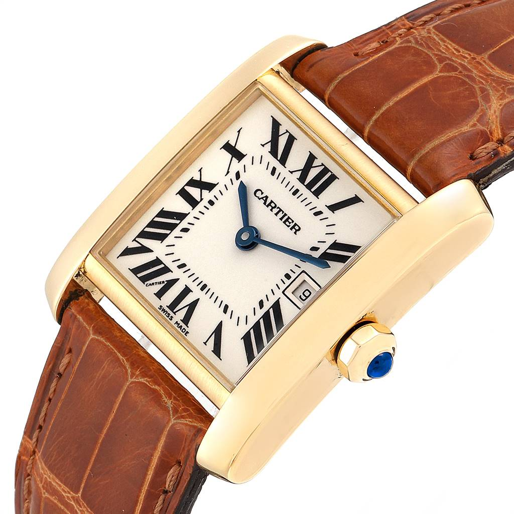 Cartier Tank Francaise Midsize Yellow Gold Brown Strap Watch W50014N2 SwissWatchExpo