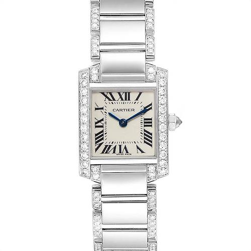 Photo of Cartier Tank Francaise White Gold Diamond Ladies Watch WE1002SF