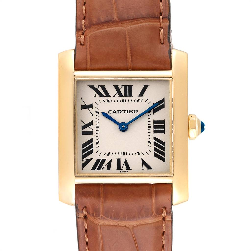 Cartier Tank Francaise Midsize Yellow Gold Brown Strap Watch W50003N2