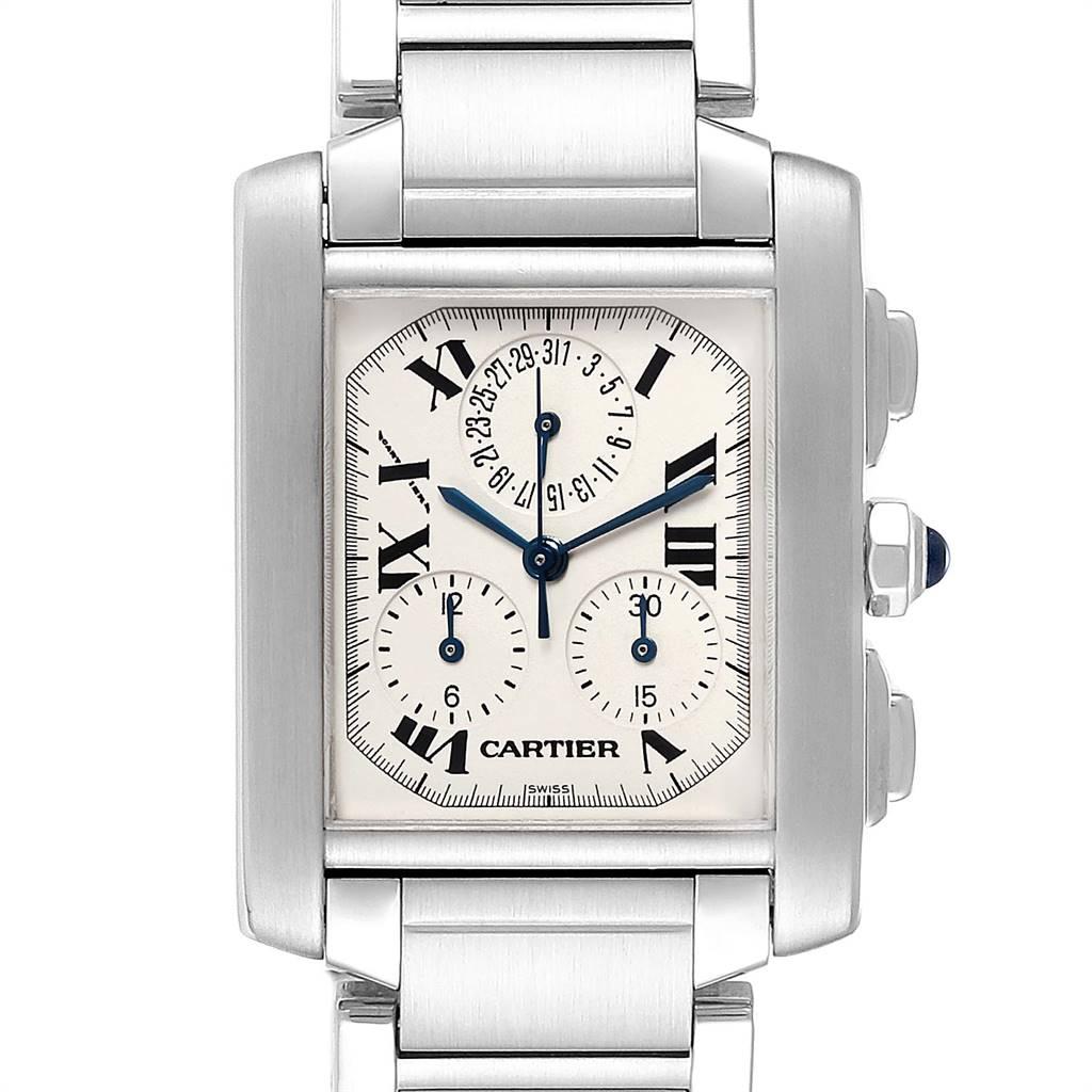 Cartier Tank Francaise Chronoflex Chronograph Steel Watch W51001Q3 Box