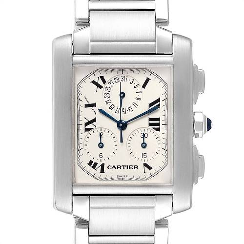 Photo of Cartier Tank Francaise Chronoflex Chronograph Steel Watch W51001Q3 Box