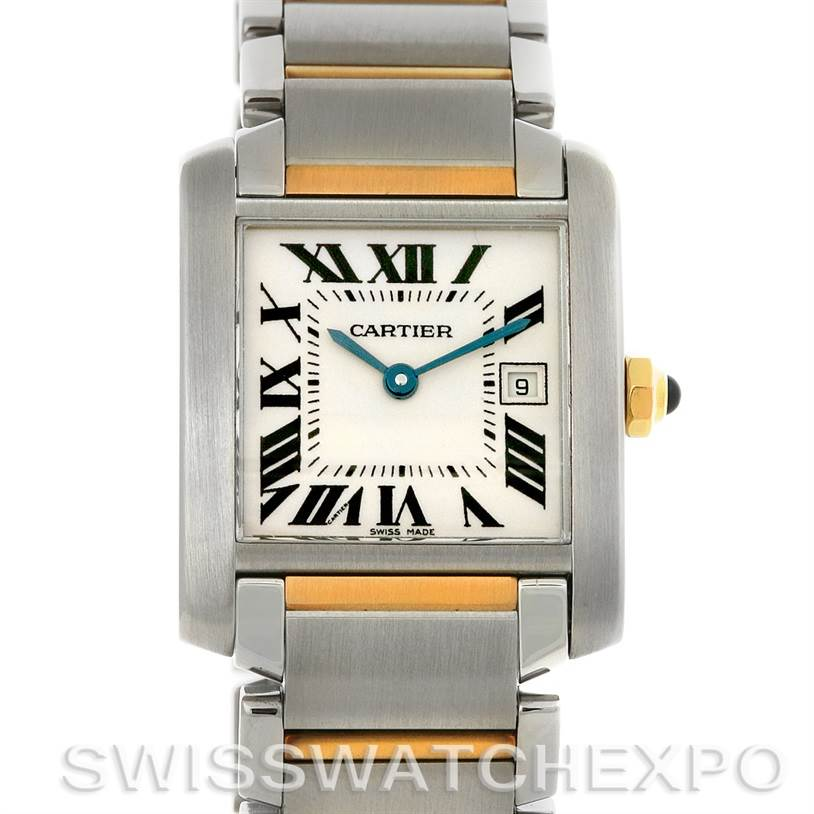 2951 Cartier Tank Francaise Midsize Steel 18k Gold W51012Q4 SwissWatchExpo