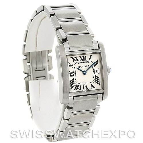 2930 Cartier Tank Francaise Midsize Steel W51011Q3 Watch SwissWatchExpo