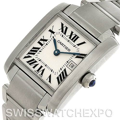 3085 Cartier Tank Francaise Midsize Steel W51011Q3 Watch SwissWatchExpo