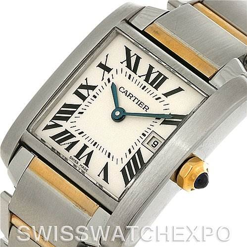 4121 Cartier Tank Francaise Midsize Steel 18k Gold W51012Q4 SwissWatchExpo