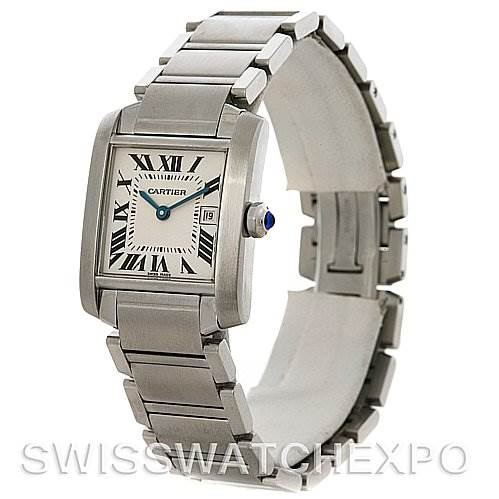 4236 Cartier Tank Francaise Midsize Stainless Steel Watch W51011Q3 SwissWatchExpo