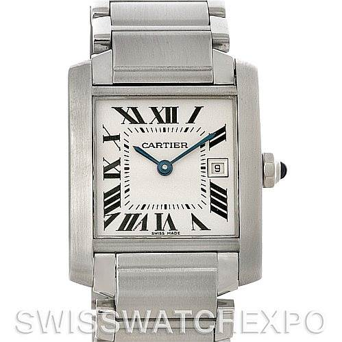 4322 Cartier Tank Francaise Midsize Stainless Steel Watch W51011Q3 SwissWatchExpo