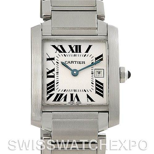 4296 Cartier Tank Francaise Midsize Stainless Steel Watch W51011Q3 SwissWatchExpo