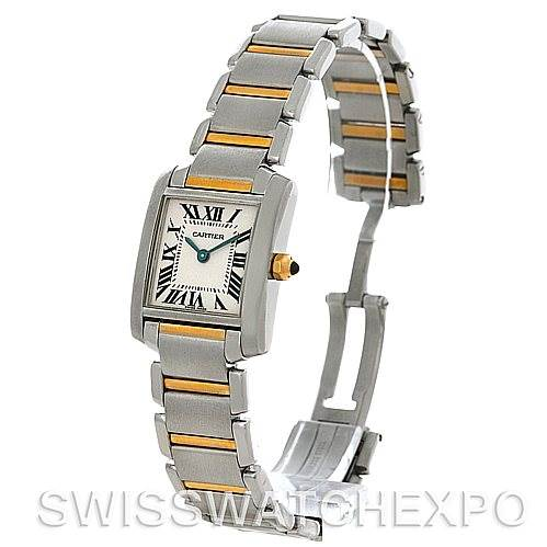 4377 Cartier Tank Francaise Small Steel 8k Yellow Gold W51007Q4 Watch SwissWatchExpo