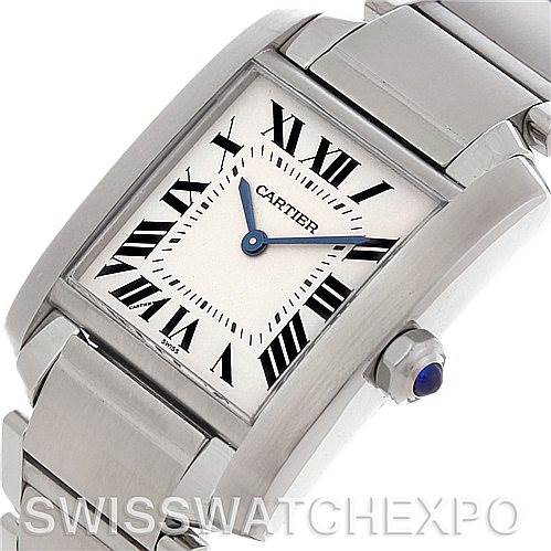4510 Cartier Tank Francaise Midsize Stainless Steel Watch SwissWatchExpo