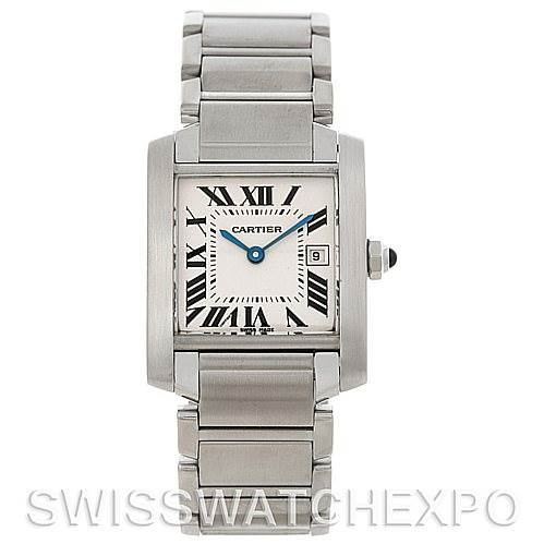 4447 Cartier Tank Francaise Midsize Stainless Steel Watch W51011Q3 SwissWatchExpo