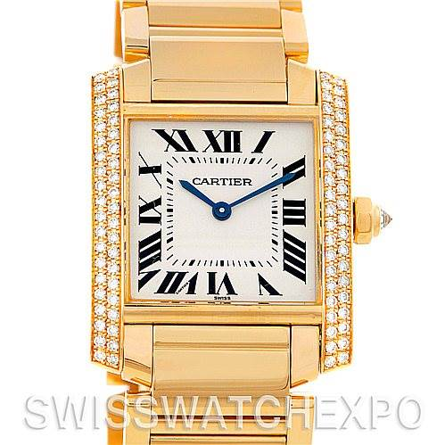 4827 Cartier Tank Francaise Midsize 18k Yellow Gold Diamond Watch WE1017R8 SwissWatchExpo