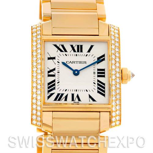 Photo of Cartier Tank Francaise Midsize 18k Yellow Gold Diamond Watch WE1017R8