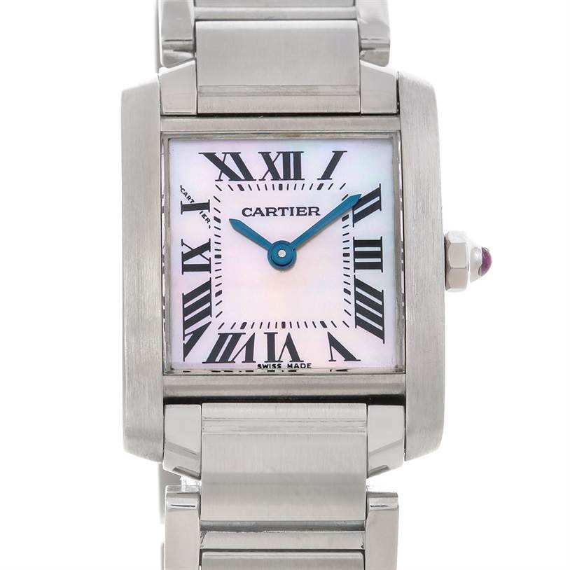 5022AA Cartier W51028Q3 Tank Francaise Pink Mother of Pearl Watch SwissWatchExpo