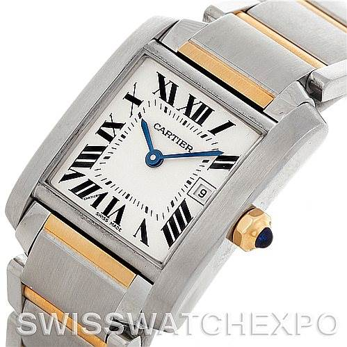 5456 Cartier Tank Francaise Midsize Steel 18k Gold W51012Q4 SwissWatchExpo