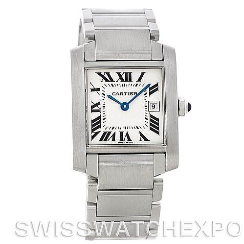5792 Cartier Tank Francaise Midsize Stainless Steel Watch W51011Q3 SwissWatchExpo