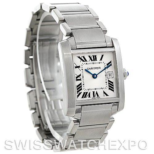 5758 Cartier Tank Francaise Midsize Stainless Steel Watch W51011Q3 SwissWatchExpo