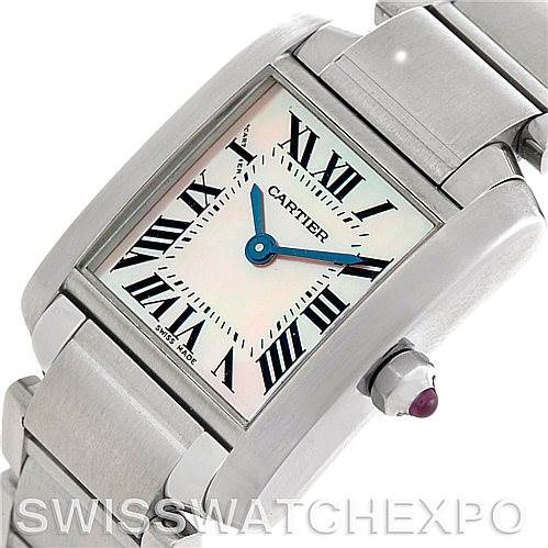 5022 Cartier Tank Francaise Ladies Mother of Pearl Watch W51028Q3 SwissWatchExpo