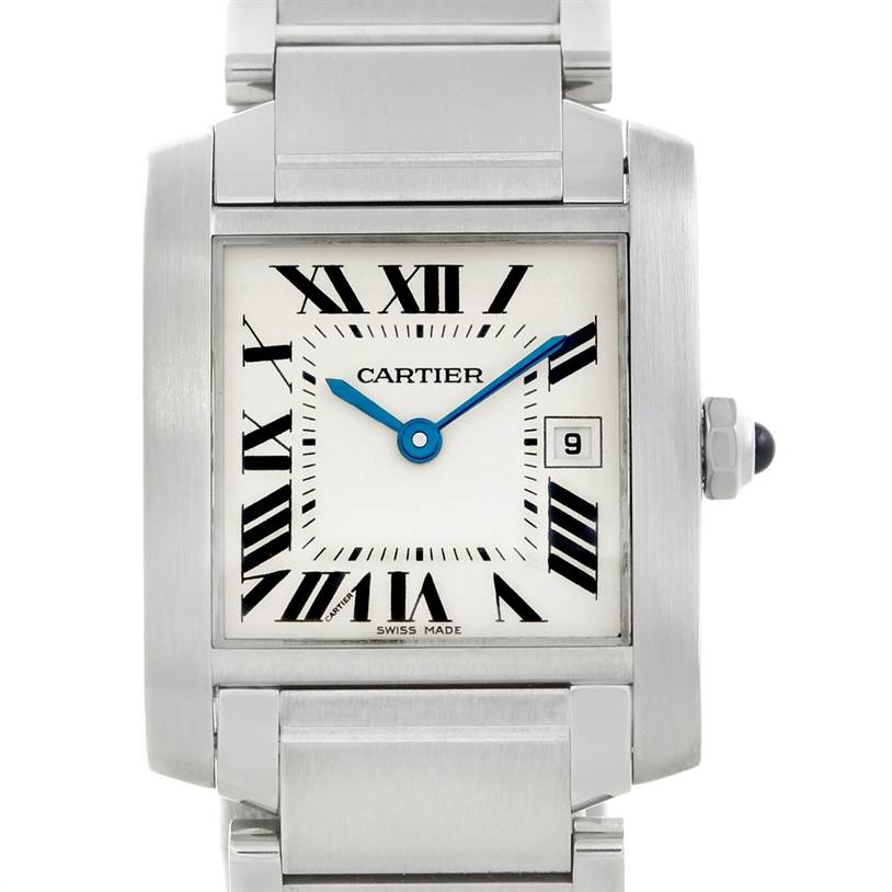 5928 Cartier Tank Francaise Midsize Stainless Steel Watch W51011Q3 SwissWatchExpo