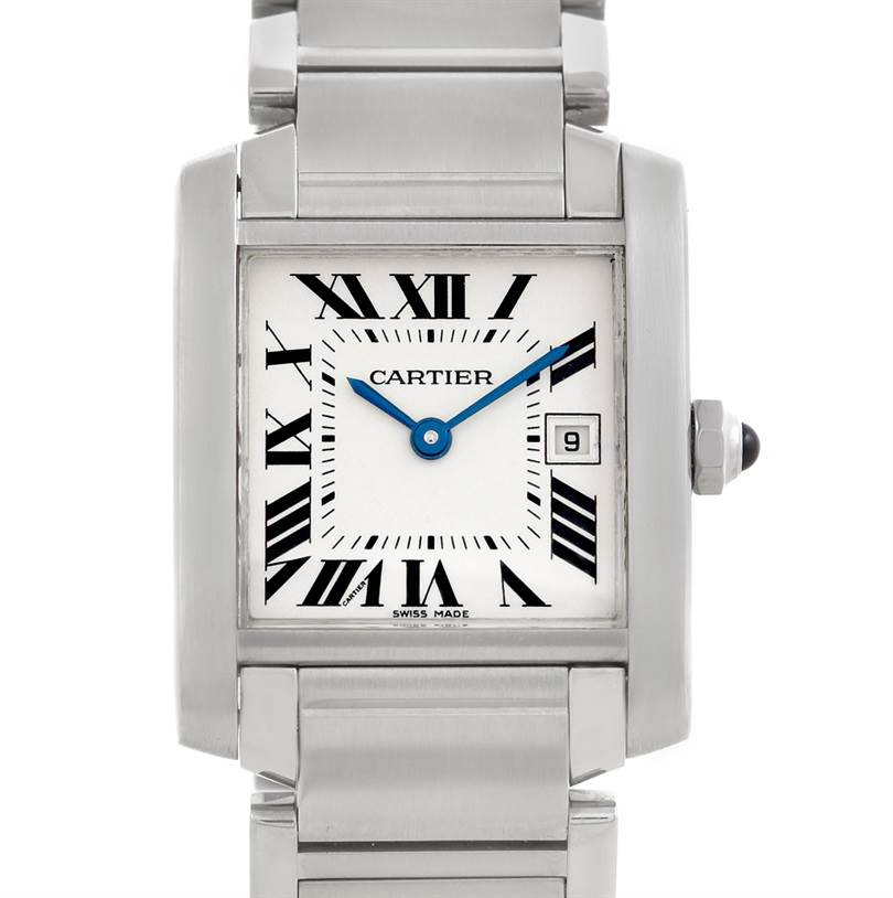 5929 Cartier Tank Francaise Midsize Stainless Steel Watch W51011Q3 SwissWatchExpo
