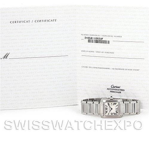 5861 Cartier Tank Francaise Midsize Stainless Steel Watch W51011Q3 SwissWatchExpo