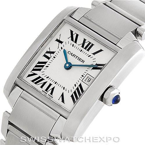 6077 Cartier Tank Francaise Midsize Stainless Steel Watch W51011Q3 SwissWatchExpo