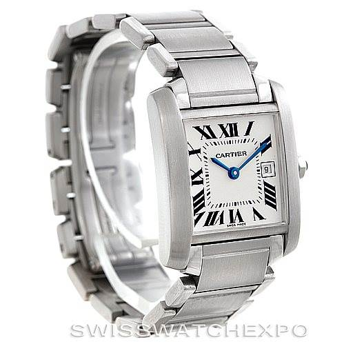 5801 Cartier Tank Francaise Midsize Stainless Steel Watch W51011Q3 SwissWatchExpo