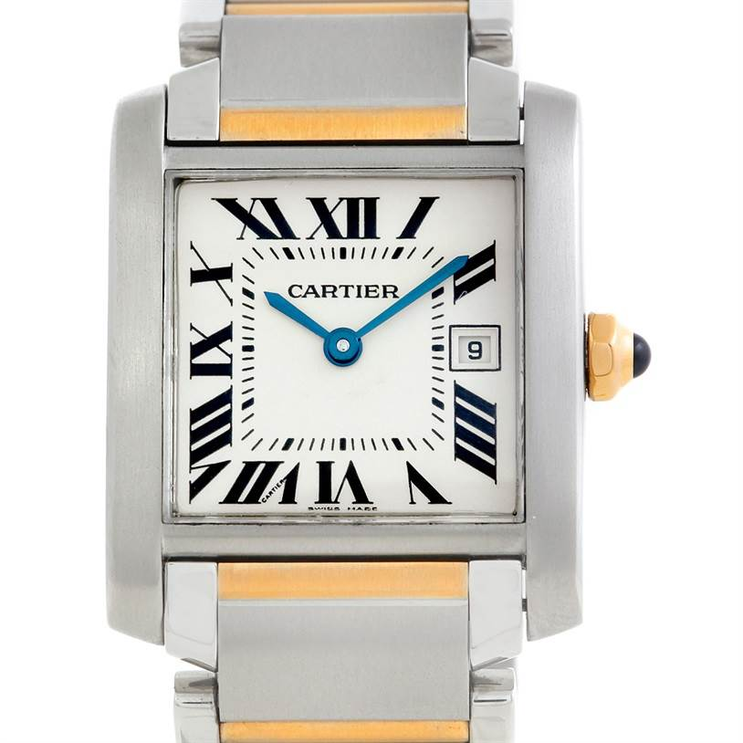 6244 Cartier Tank Francaise Midsize Steel 18k Gold W51012Q4 SwissWatchExpo