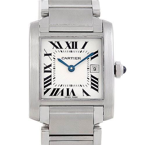 6113 Cartier Tank Francaise Midsize Stainless Steel Watch W51011Q3 SwissWatchExpo