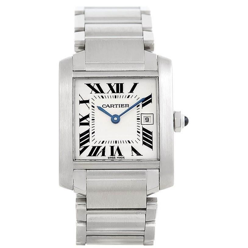 6444 Cartier Tank Francaise Midsize Stainless Steel Watch W51011Q3 SwissWatchExpo