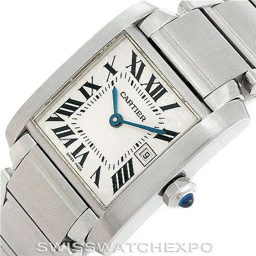 6443 Cartier Tank Francaise W51011Q3 Midsize Stainless Steel Watch SwissWatchExpo