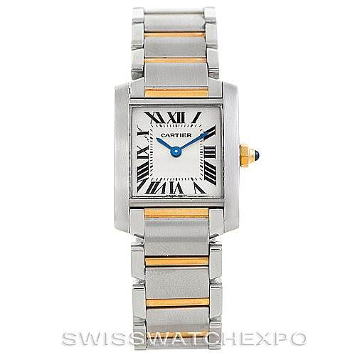 6828 Cartier Tank Francaise Small Steel 18k Gold Watch W51007Q4 SwissWatchExpo