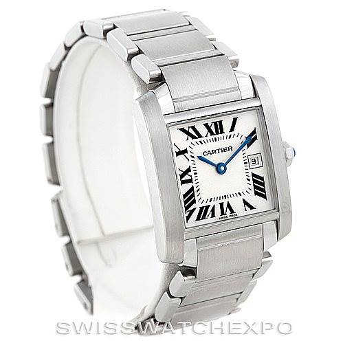 6904 Cartier Tank Francaise Midsize Stainless Steel Watch W51011Q3 SwissWatchExpo