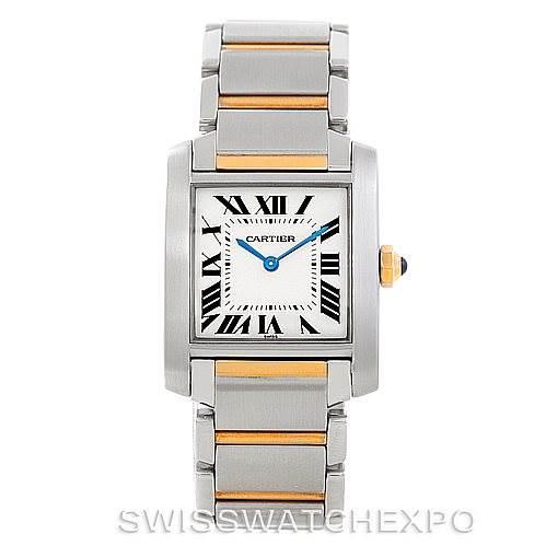 7026 Cartier Tank Francaise Midsize Steel 18k Gold Watch SwissWatchExpo