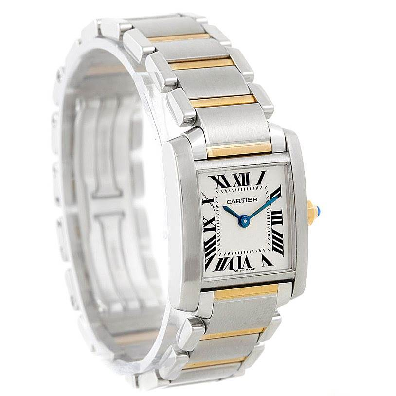 7063 Cartier Tank Francaise Small Steel 18k Gold Watch W51007Q4 SwissWatchExpo