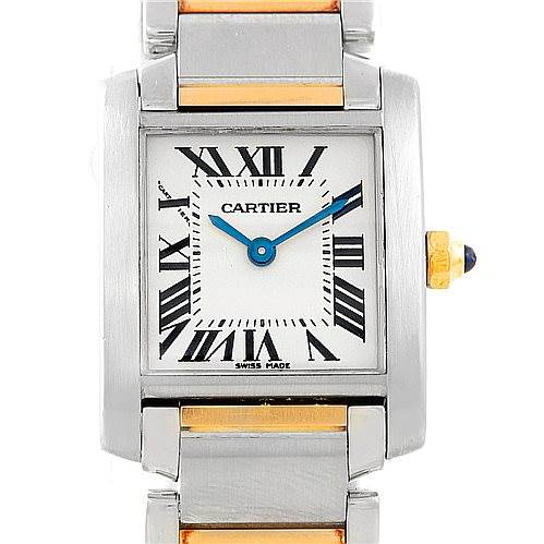 7093 Cartier Tank Francaise Small Steel 18k Gold Watch W51007Q4 SwissWatchExpo